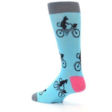 Image of Teal Cat on Bike Men's Dress Socks (side-2-back-14)