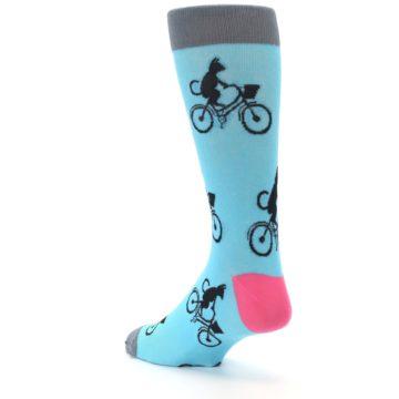 Image of Teal Cat on Bike Men's Dress Socks (side-2-back-15)