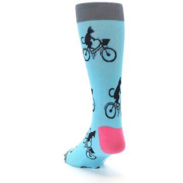 Image of Teal Cat on Bike Men's Dress Socks (side-2-back-16)