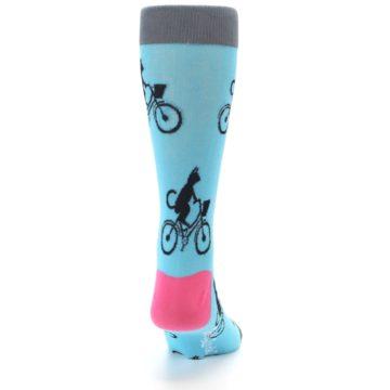 Image of Teal Cat on Bike Men's Dress Socks (back-19)