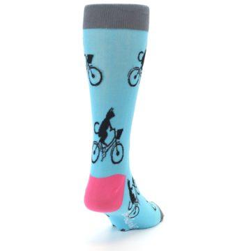 Image of Teal Cat on Bike Men's Dress Socks (side-1-back-20)