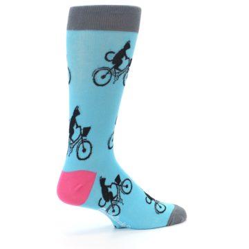 Image of Teal Cat on Bike Men's Dress Socks (side-1-23)