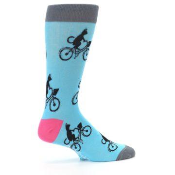 Image of Teal Cat on Bike Men's Dress Socks (side-1-24)