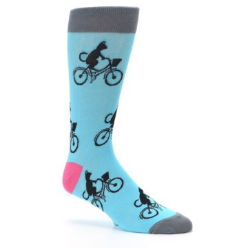 Image of Teal Cat on Bike Men's Dress Socks (side-1-26)