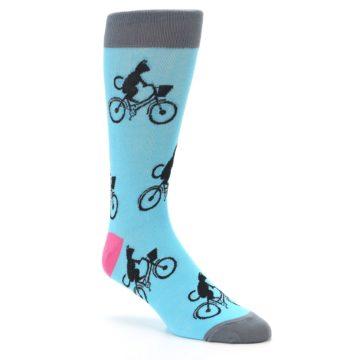 Image of Teal Cat on Bike Men's Dress Socks (side-1-27)