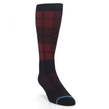 Image of Red Black Plaid Men's Casual Socks (side-1-front-02)