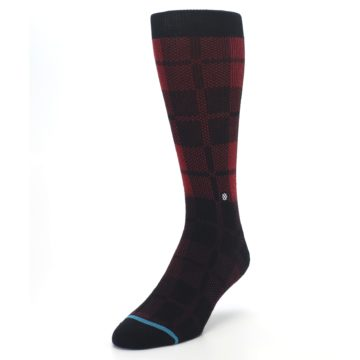 Image of Red Black Plaid Men's Casual Socks (side-2-front-07)
