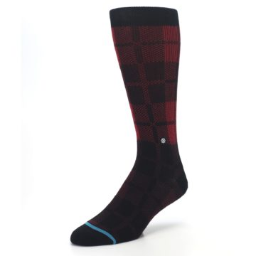 Image of Red Black Plaid Men's Casual Socks (side-2-front-08)