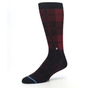 Image of Red Black Plaid Men's Casual Socks (side-2-09)