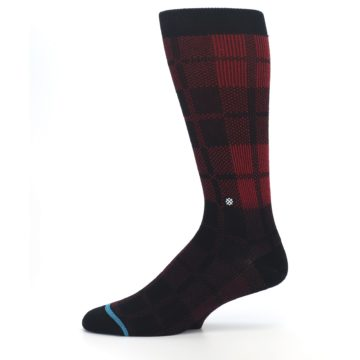 Image of Red Black Plaid Men's Casual Socks (side-2-11)