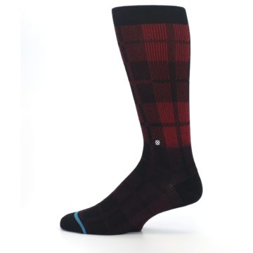 Image of Red Black Plaid Men's Casual Socks (side-2-12)