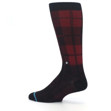 Image of Red Black Plaid Men's Casual Socks (side-2-13)