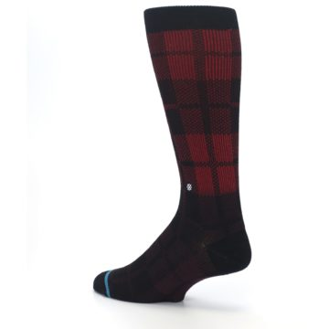 Image of Red Black Plaid Men's Casual Socks (side-2-back-14)