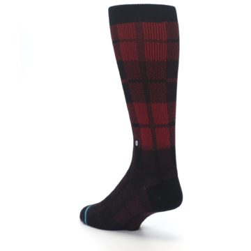 Image of Red Black Plaid Men's Casual Socks (side-2-back-15)
