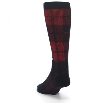 Image of Red Black Plaid Men's Casual Socks (side-2-back-16)