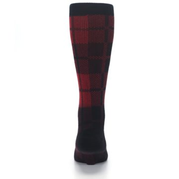 Image of Red Black Plaid Men's Casual Socks (back-18)