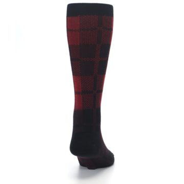 Image of Red Black Plaid Men's Casual Socks (back-19)