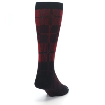 Image of Red Black Plaid Men's Casual Socks (side-1-back-20)