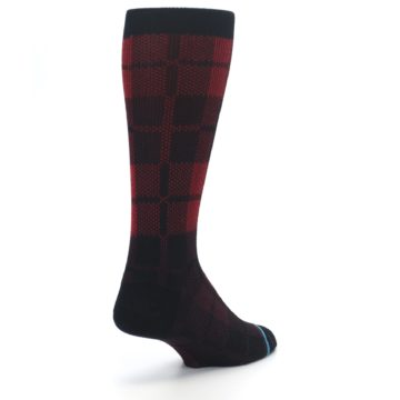 Image of Red Black Plaid Men's Casual Socks (side-1-back-21)