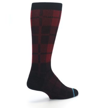 Image of Red Black Plaid Men's Casual Socks (side-1-back-22)