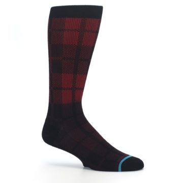 Image of Red Black Plaid Men's Casual Socks (side-1-25)