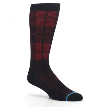 Image of Red Black Plaid Men's Casual Socks (side-1-26)