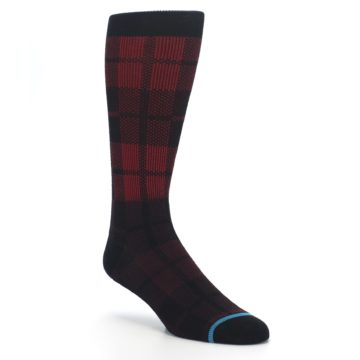 Image of Red Black Plaid Men's Casual Socks (side-1-27)