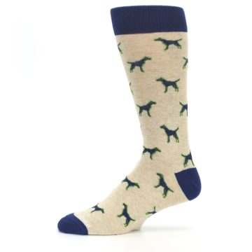 Image of Khaki Navy Dogs Men's Dress Socks (side-2-11)