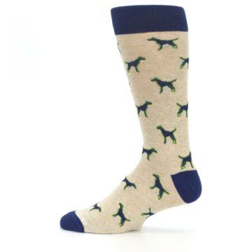Image of Khaki Navy Dogs Men's Dress Socks (side-2-12)