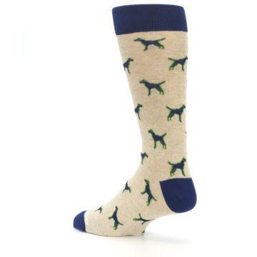 Image of Khaki Navy Dogs Men's Dress Socks (side-2-back-14)