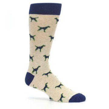Image of Khaki Navy Dogs Men's Dress Socks (side-1-25)