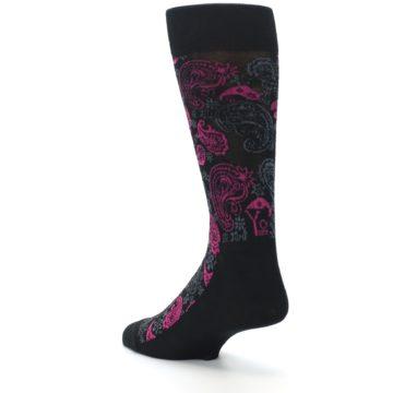 Image of Black Grey Pink Paisley Men's Dress Socks (side-2-back-15)