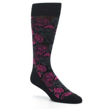 Image of Black Grey Pink Paisley Men's Dress Socks (side-1-27)