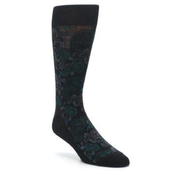 Black Green Paisley Wedding Socks for Groomsemn
