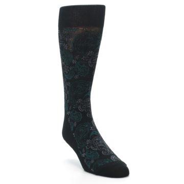 Image of Black Grey Green Paisley Men's Dress Socks (side-1-front-02)