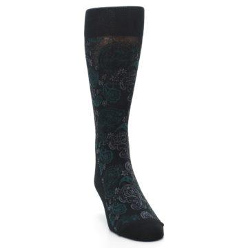 Image of Black Grey Green Paisley Men's Dress Socks (side-1-front-03)