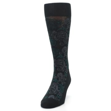 Image of Black Grey Green Paisley Men's Dress Socks (side-2-front-06)