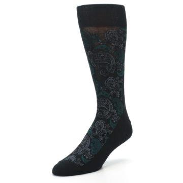 Image of Black Grey Green Paisley Men's Dress Socks (side-2-front-08)
