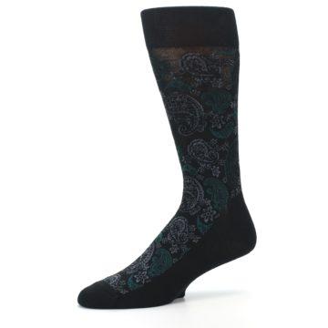 Image of Black Grey Green Paisley Men's Dress Socks (side-2-10)