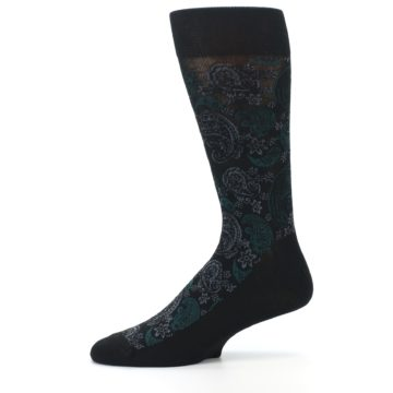 Image of Black Grey Green Paisley Men's Dress Socks (side-2-11)