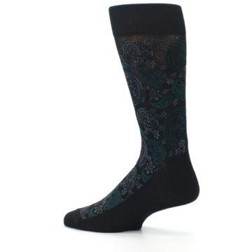 Image of Black Grey Green Paisley Men's Dress Socks (side-2-13)