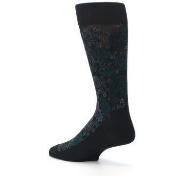 Image of Black Grey Green Paisley Men's Dress Socks (side-2-back-14)