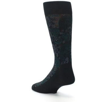 Image of Black Grey Green Paisley Men's Dress Socks (side-2-back-15)