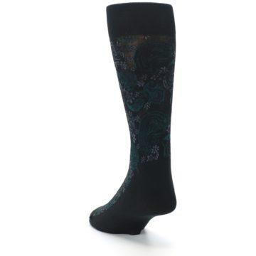 Image of Black Grey Green Paisley Men's Dress Socks (side-2-back-16)