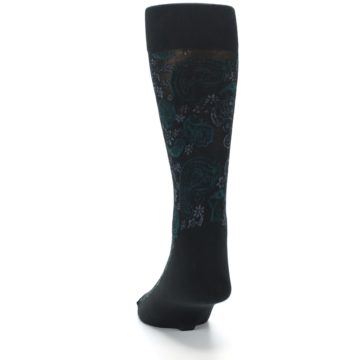Image of Black Grey Green Paisley Men's Dress Socks (back-17)