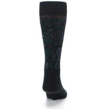 Image of Black Grey Green Paisley Men's Dress Socks (back-19)