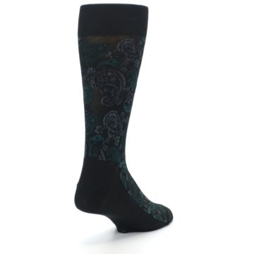 Image of Black Grey Green Paisley Men's Dress Socks (side-1-back-21)