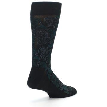 Image of Black Grey Green Paisley Men's Dress Socks (side-1-back-22)