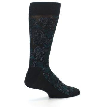 Image of Black Grey Green Paisley Men's Dress Socks (side-1-23)