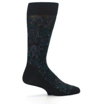 Image of Black Grey Green Paisley Men's Dress Socks (side-1-24)